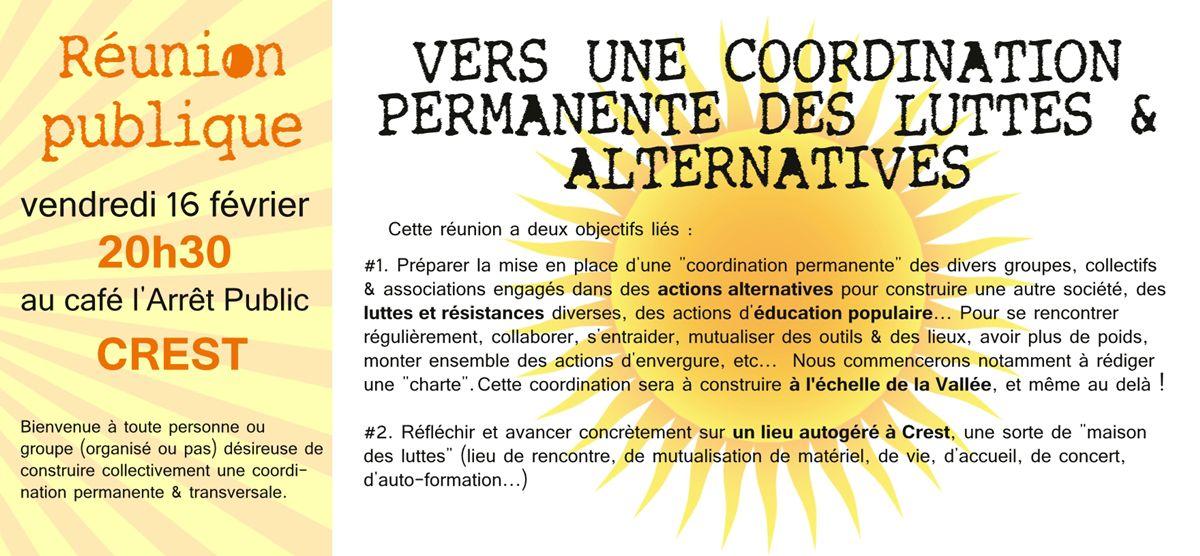 Vers une coordination permanente des luttes & alternatives
